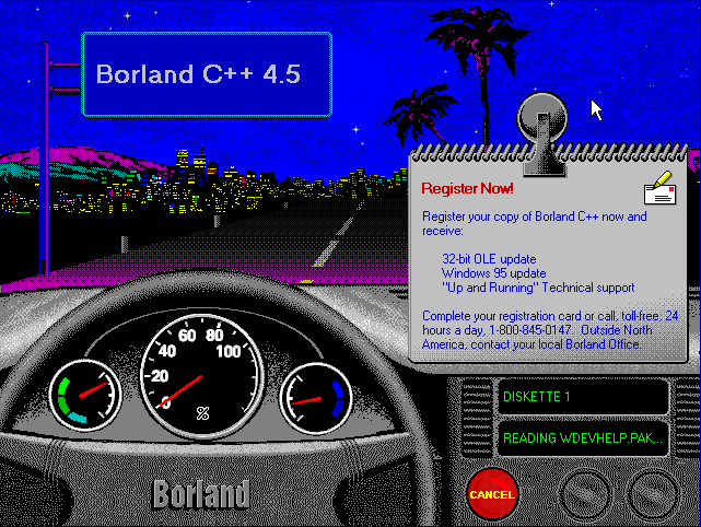 Borland C++ 4.5 Installation Screen